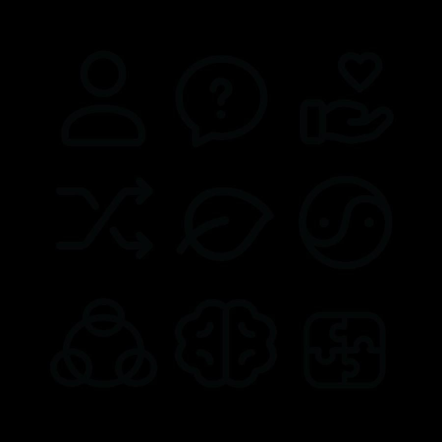 nine rules of spatial intelligence icon grid black