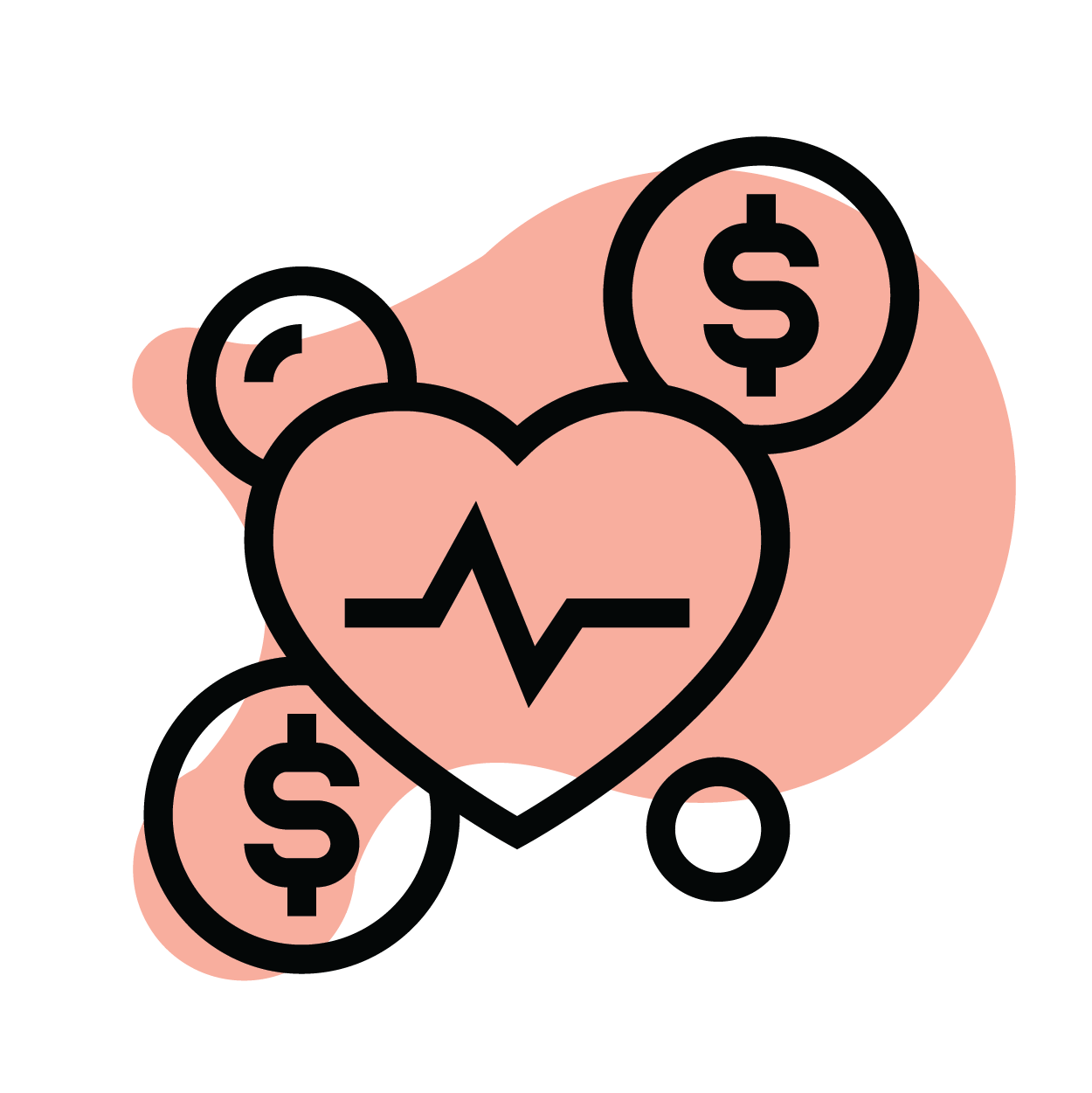 Icon of heart and dollar sign in bubbles