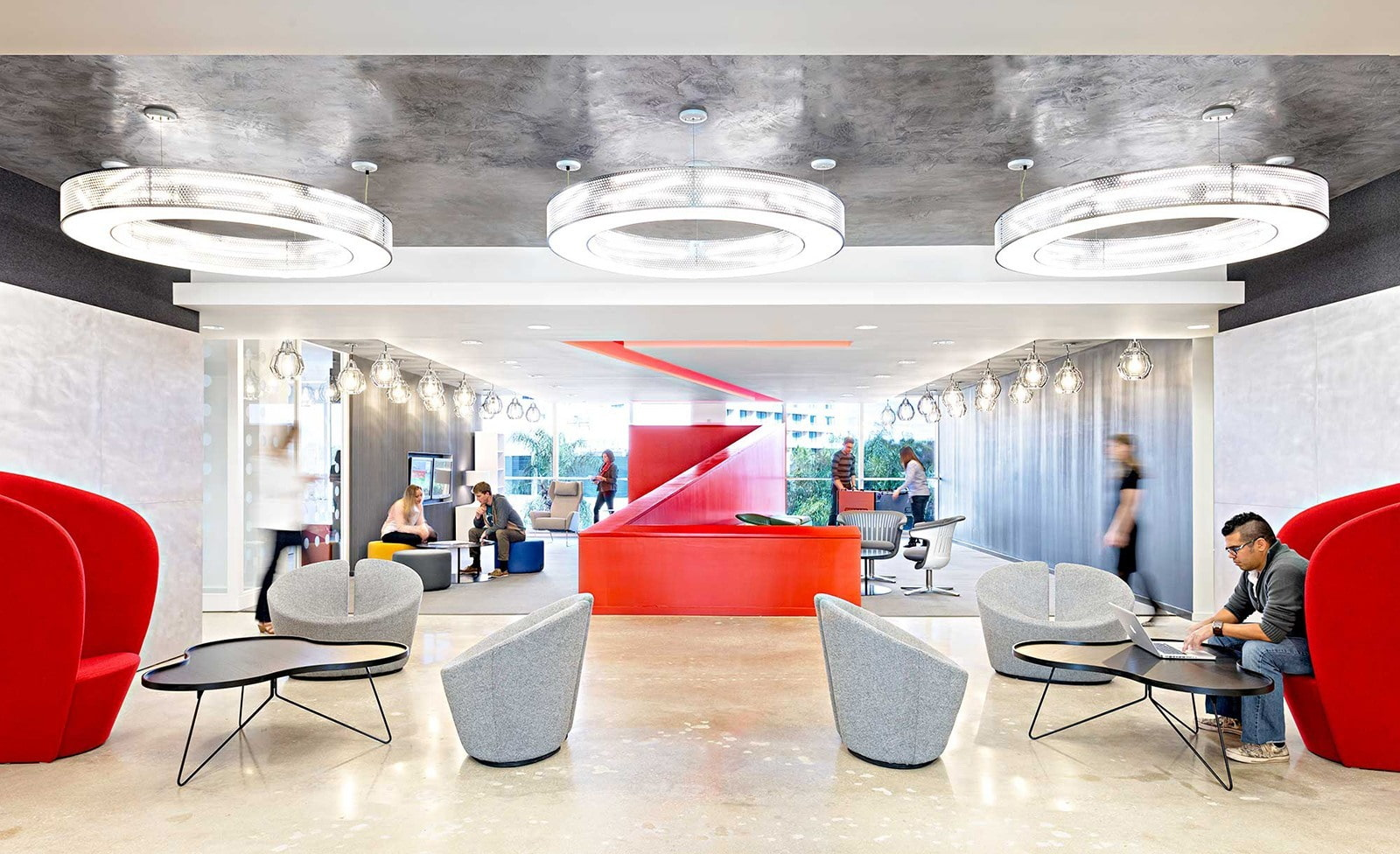 Open Office with Red Accents